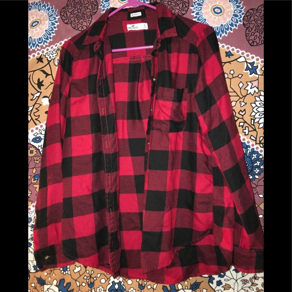 Hollister Tops - Soft red and black flannel from hollister